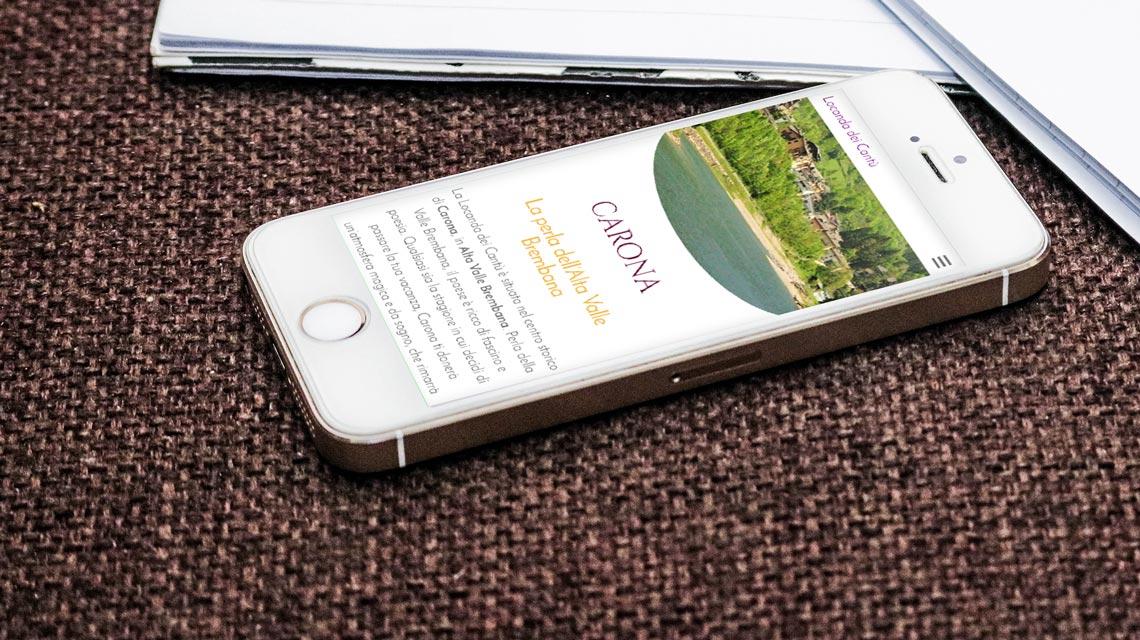 Nuovo sito Locanda dei Cantù - Carona - mockup smartphone