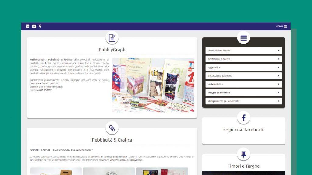 Il vecchio sito di Pubblygraph: la divisione dei servizi