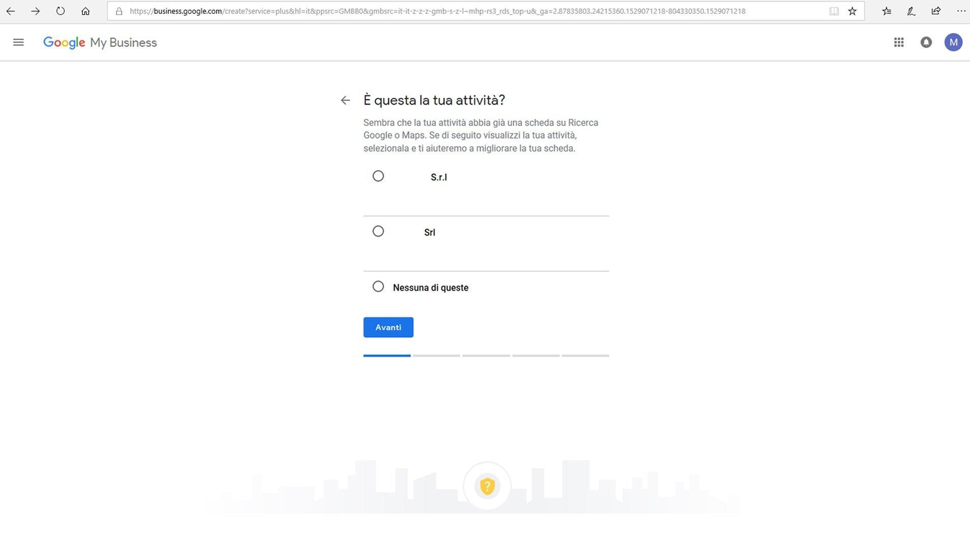 Inserire azienda su Google maps - passaggio 4 registrazione