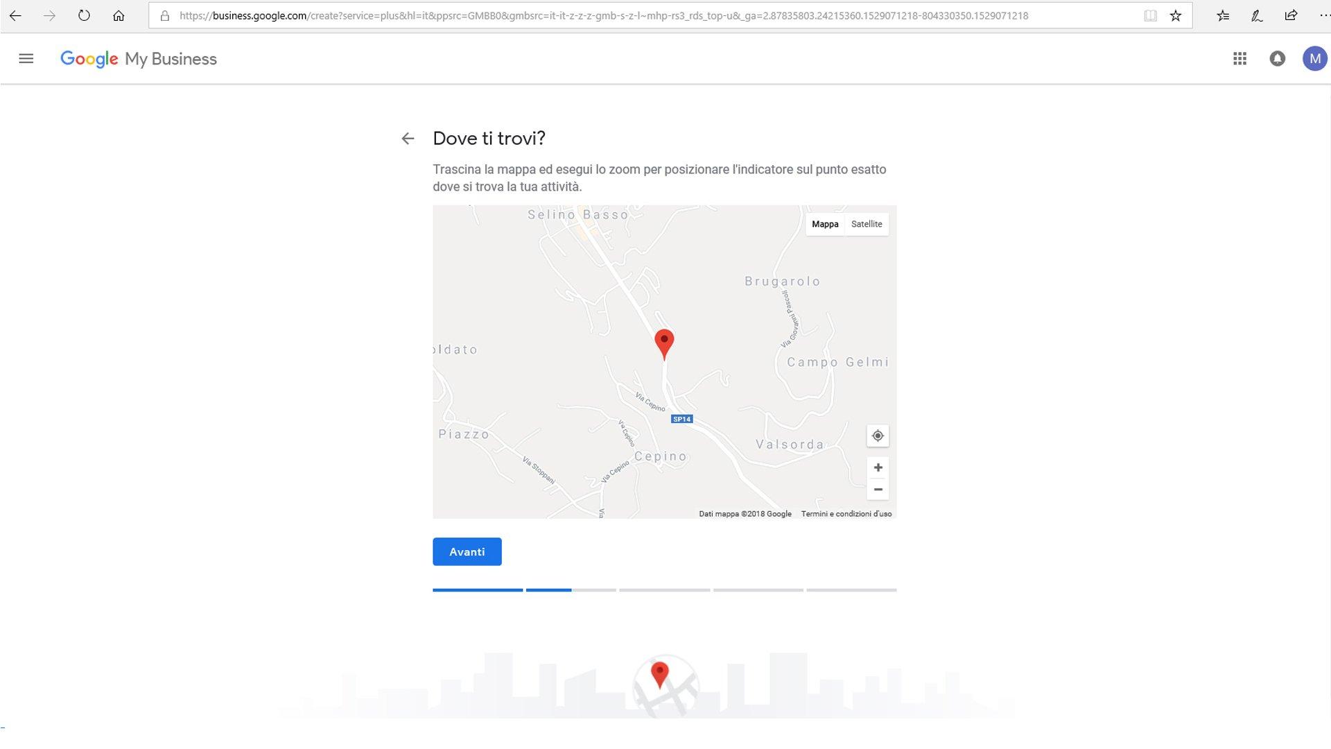 Inserire azienda su Google maps - passaggio 5 registrazione